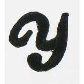 Black Embroidered Iron-On Script Letter - Y